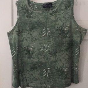 Green Leaf Pattern Tank Top
